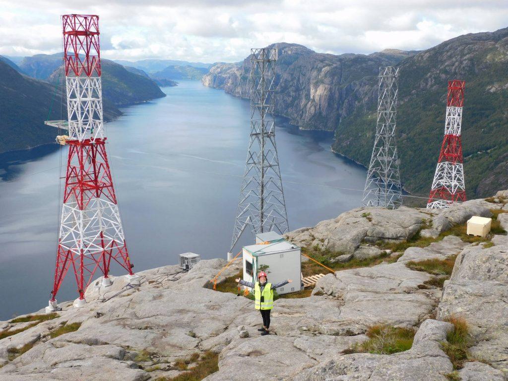 Stavanger fjord Norway conductor power line